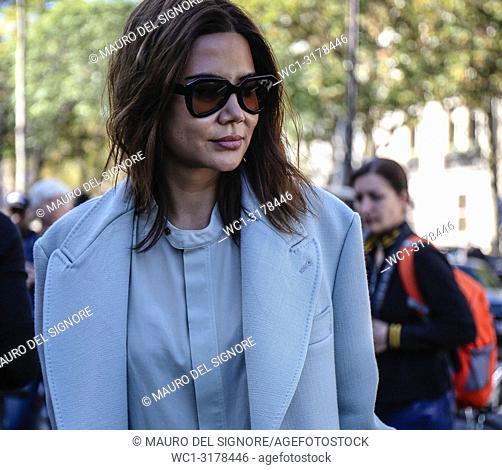 PARIS, France- September 26 2018: Christine Centenera on the street during the Paris Fashion Week