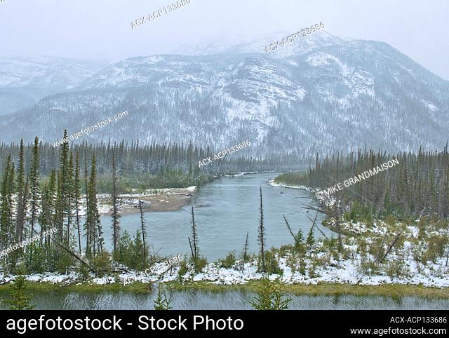 Early (freak) snow storm in the Northern Rocky Mountains Muncho Lake Provincial Park British Columbia Canada