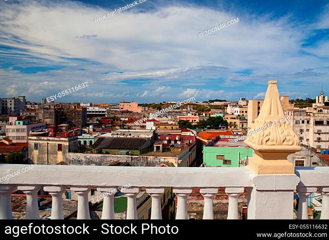 Top view of the roofs and buildings of Old Havana, Cuba