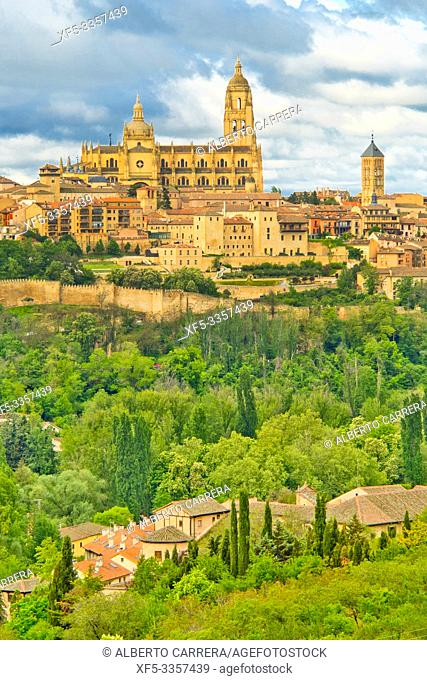 Panoramic View, Segovia, UNESCO World Heritage Site, Castilla y León, Spain, Europe