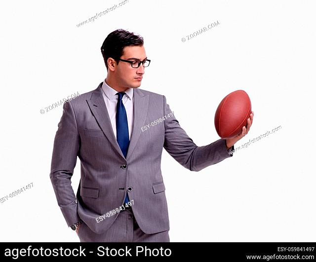The businessman with american football isolated on white