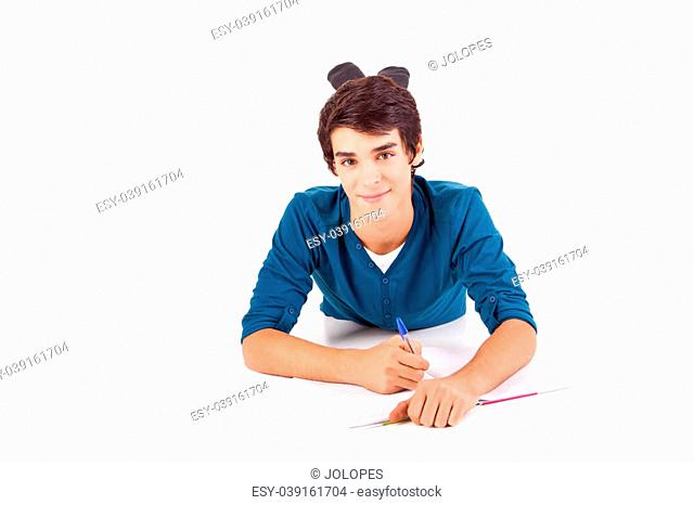 Young happy student carrying books on white backgound