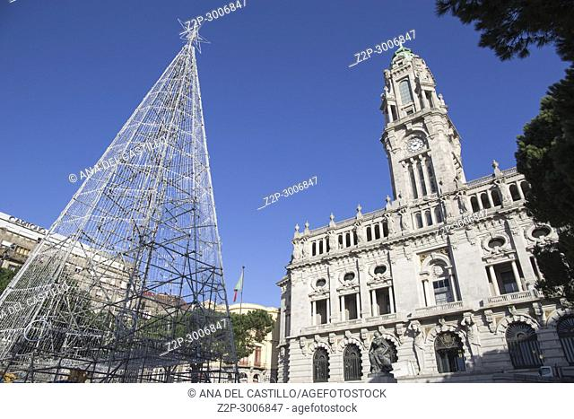 City hall and Christmas tree. in Porto, Portugal