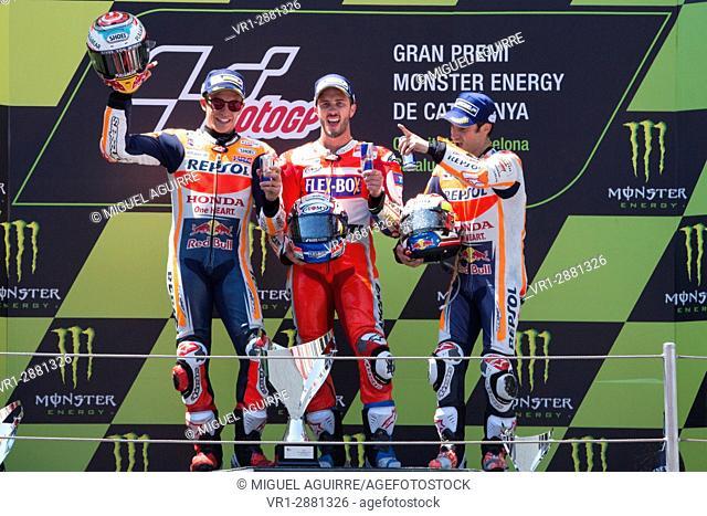 Marc Marquez, Andrea Dovizioso and Dani Pedrosa. Monster Energy Grand Prix of Catalonia MotoGP at Circuit of Catalonia. Barcelona, Spain, June 11, 2017