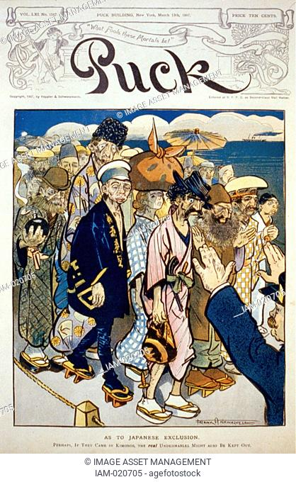 Anti-immigration caricature showing anarchists, Jews, Russians and Italians dressed in kimonos, being kept out of the United States