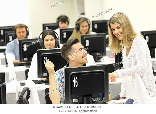 Students in language laboratory, Language training classroom, University of the Basque Country, Donostia, San Sebastian, Gipuzkoa, Spain
