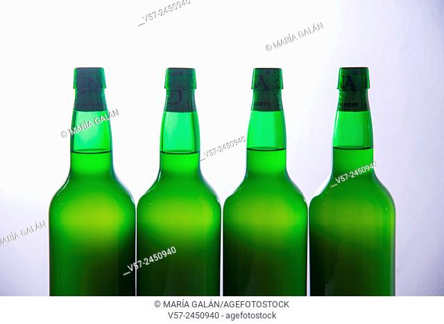 Four bottles of cider. Asturias, Spain