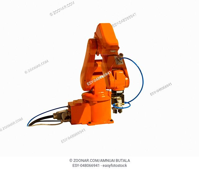 Robotic arm welder on white isolated background
