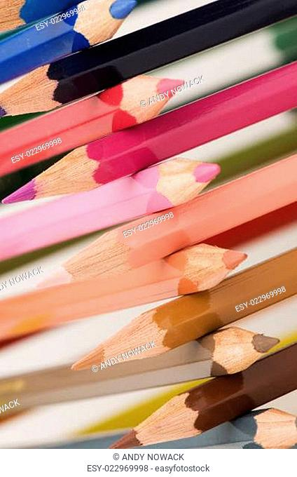 cross-stacked pencils colorful