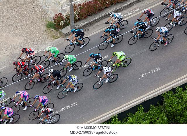 Bicycle racers running the 9th stage of Giro d'Italia. Prato di Strada, Italy. 12th May 2013