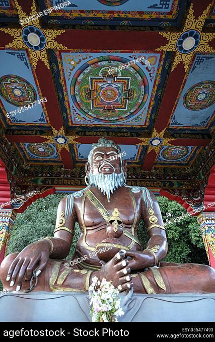 Yuksom, India - November 2020: Statue of Thangtong Gyalpo in Thang Gyal Monastery on November 1, 2020 in Yuksom, Sikkim, India