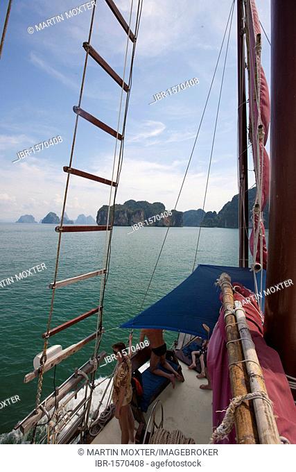 View from junk June Bahtra, Phang Nga Bay, Phuket, Thailand, Southeast Asia, Asia
