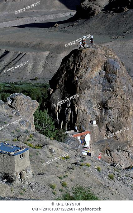 Mulbekh Monastery, Maitreya Buddha overlooking the old trade route. Statue of Buddha, NH1, National Highway 1, Himalayas, Ladakh, Jammu and Kashmir