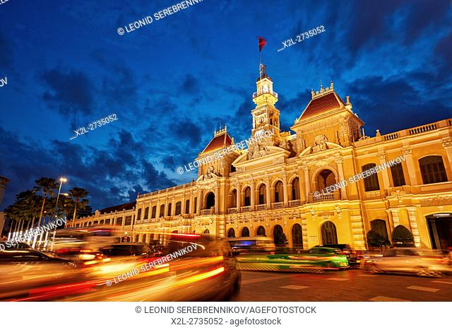 People's Committee Building at dusk. Ho Chi Minh City, Vietnam
