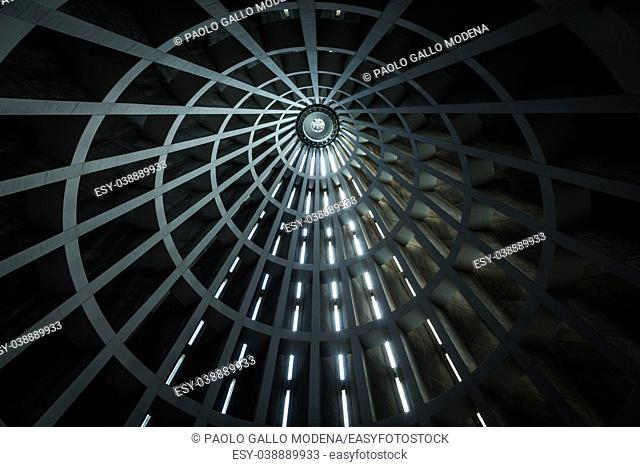 Detail of the ceiling of a modern building. Lines in prespective shaped by external sunlight. Useful background