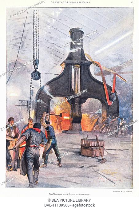 The giant hammer at the arsenal in La Spezia. Illustrator Achille Beltrame (1871-1945), from La Domenica del Corriere