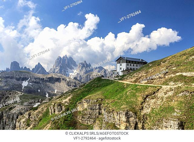 Panoramic view of Cadini di Misurina and Auronzo refuge. Veneto Sesto Dolomites Italy Europe