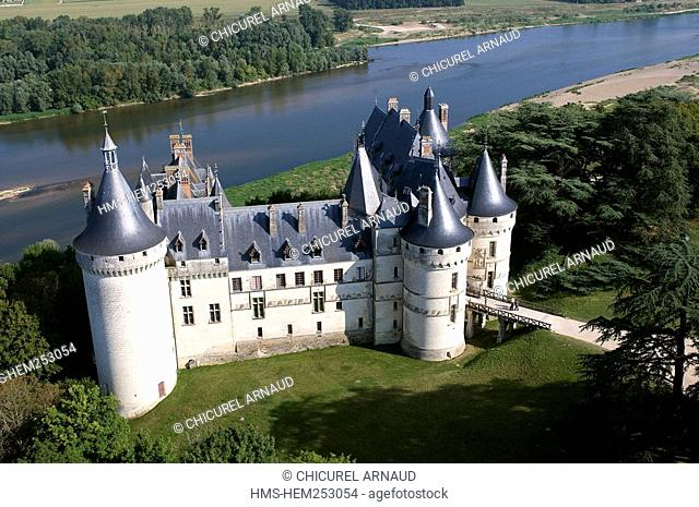 France, Loir et Cher, Loire Valley listed as World Heritage by UNESCO, Chaumont sur Loire, the castle aerial view