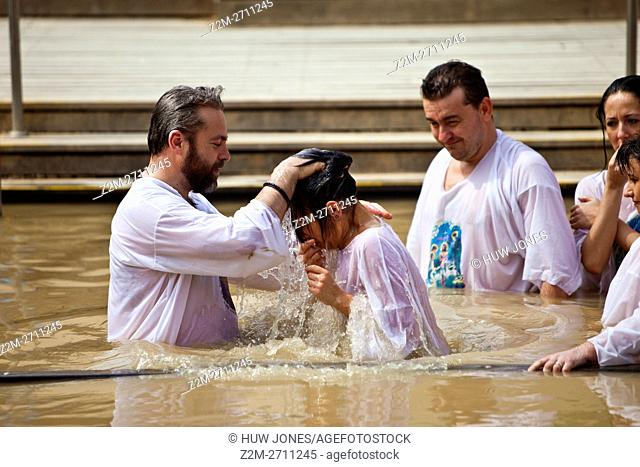 Russian Orthodox Christian Baptism, on the Israeli bank of the River Jordan, from Bethany Beyond The Jordan, Western Asia