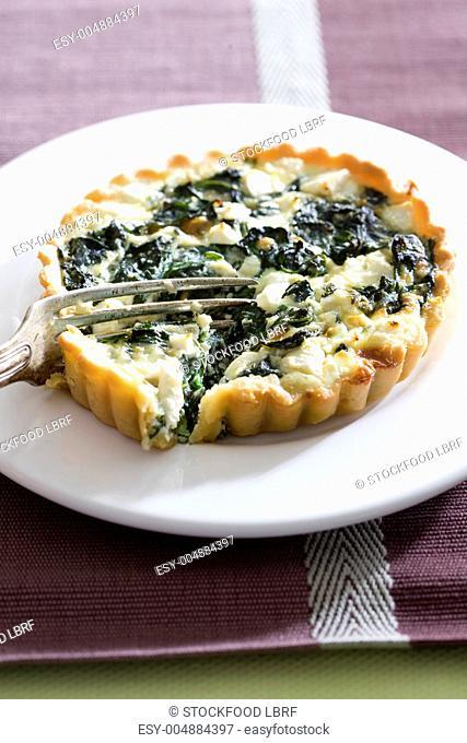 A spinach and feta quiche