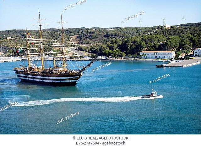 Italian training ship Amerigo Vespucci (A 5312) in the port of Mahó, Minorca, Balearic Islands, Spain
