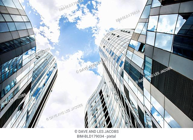 Low angle view of highrise buildings, Beijing, Beijing Municipality, China