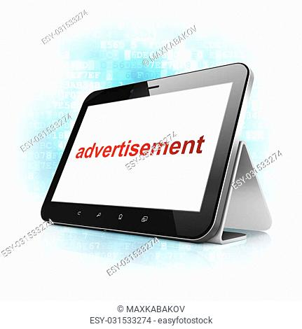 Marketing concept: black tablet pc computer with text Advertisement on display. Modern portable touch pad on Blue Digital background, 3d render