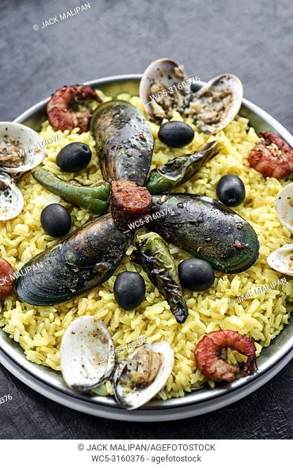 mixed fresh steamed seafood and rice paella famous traditional portuguese spanish meal