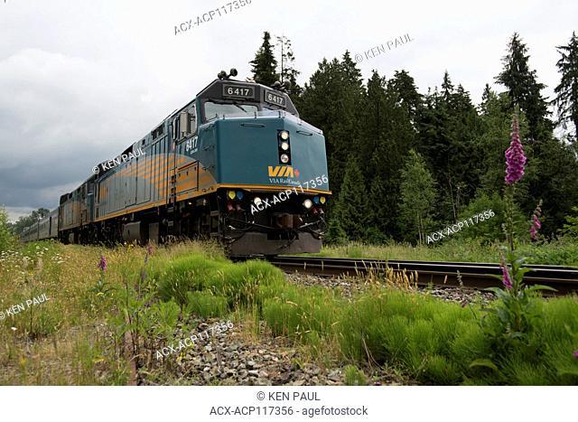 VIA Rail Canadian passing through Burnaby, BC, Canada