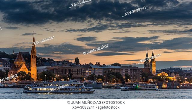Panoramic night view of Budapest from the Danube. Budapest. Hungary