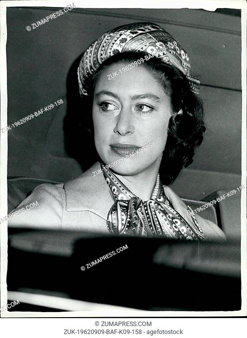 Sep. 09, 1962 - The Queen, Princess Margarett and Lord Snowdon Return to London: The Queen,Princess Margarett and Lord Snowdon returned from -almoral to London...