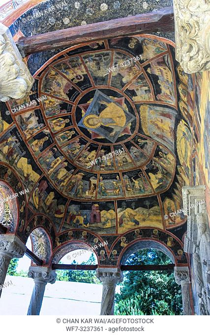 Sinaia, Romania - 2013: Paintings on the dome ceiling of Biserica Mare (The Great Church) at Sinaia Monastery by Danish painter Aage Exner