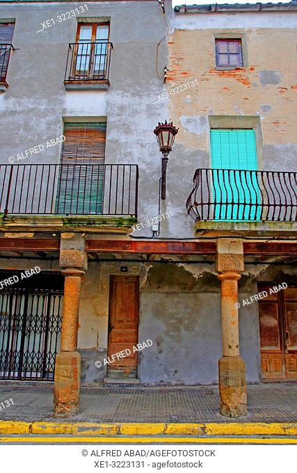 homes in the porticoed square, Linyola, Lleida, Catalonia, Spain