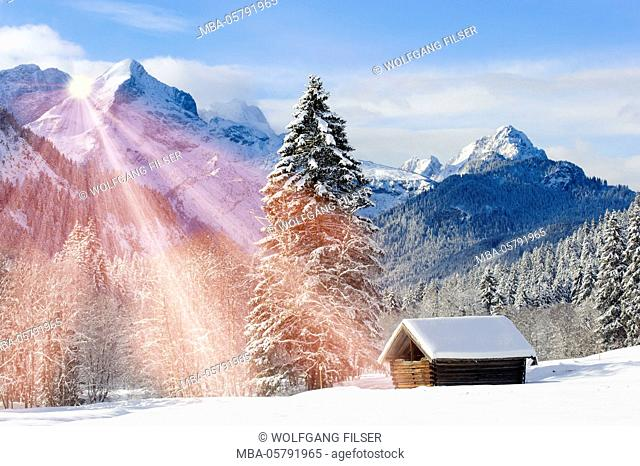 Alp, winter scenery with Elmau in the mountains of Bavaria
