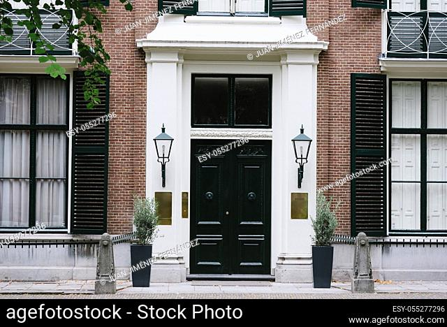 Luxury house entrance door in european city