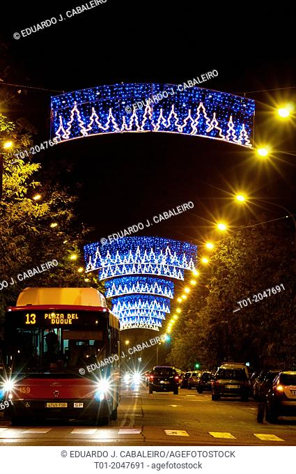 Bus and Christmas lights in Pino Montano neightborhood in Seville. Andalusia. Spain