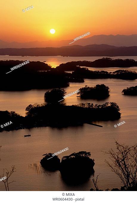 Evening View of Matsushima Bay, Higashimatsushima, Miyagi, Japan