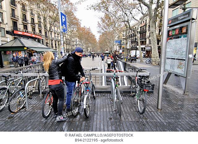 La Rambla. Bicyclists. Barcelona. Catalonia. Spain