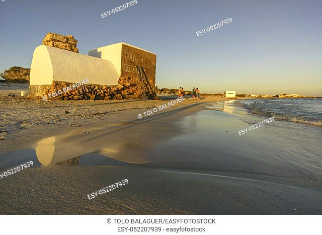intervencion de Boamistura, bunker de la guerra civil española, playa de la Rapita, Campos, islas baleares, spain