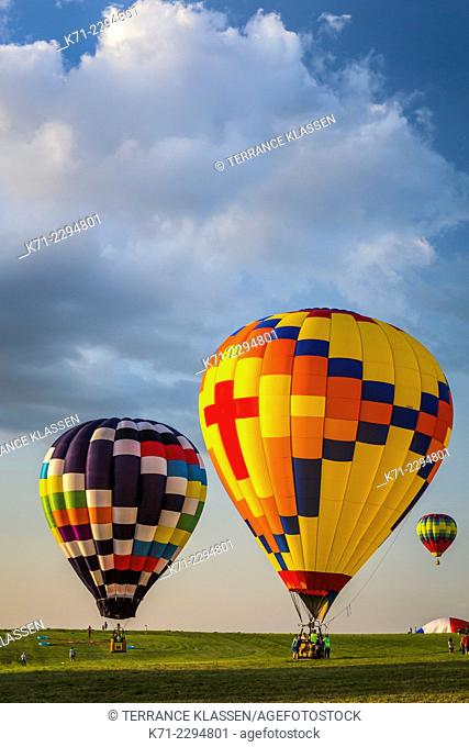 Hot air balloons at the National Balloon Classic 2014 in Indianola, Iowa, USA