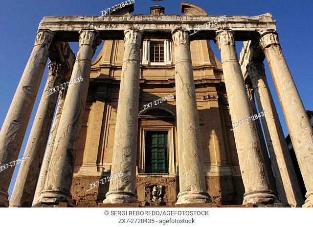 Church of San Lorenzo in Miranda and The Temple of Antoninus and Faustina in the Roman Forum, Rome, italy