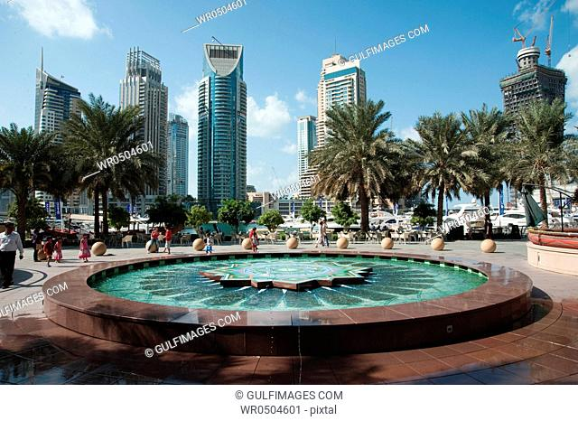 Water fountain at Dubai Marina, UAE