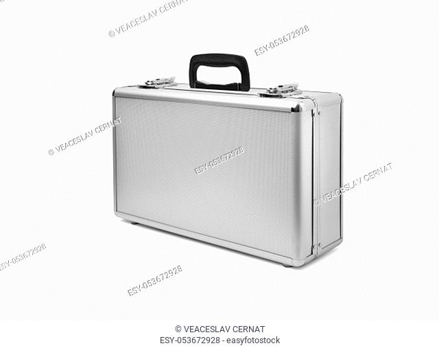 Metallic suitcase isolated on black background. With clipping path