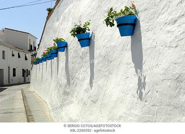 Blue Pots on a street in Mijas Malaga