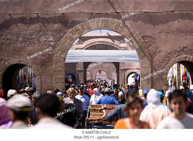 Crowd in the Medina, Essaouira, Morocco, North Africa, Africa