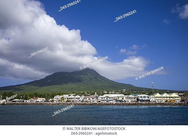 St. Kitts and Nevis, Nevis, Charlestown, town view with Nevis Peak