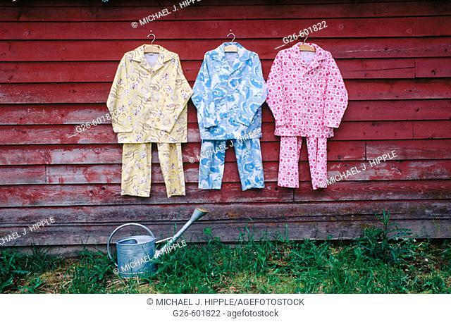 Pajamas on side of barn