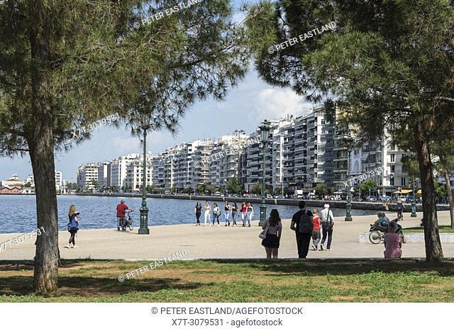 Thessaloniki waterfront and apartment blocks on Nikis Street, Macedonia, Northern Greece
