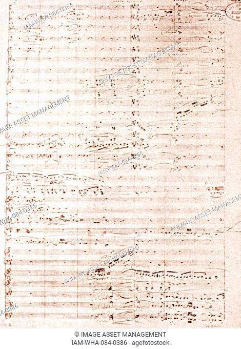 Sheet music for the Opera Tristan und Isolde by Richard Wagner (1813-1883) a German composer, theatre director, polemicist, and conductor