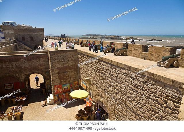 People walking on the city walls, Essaouira, Morocco